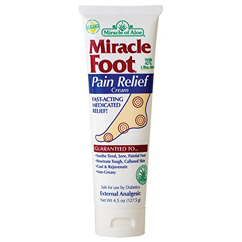 Miracle Foot Pain Relief Cream 4.5 ounce tube with 42% UltraAloe (Best Foot Cream For Sore Feet)