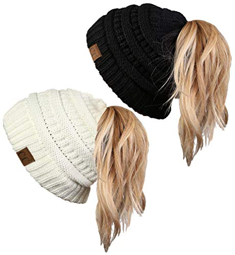 BT-6020a-2-0625 Solid Messy Bun Beanie Tail Bundle - 1 Black, 1 Ivory (2 Pack) (Ponytail Sock)