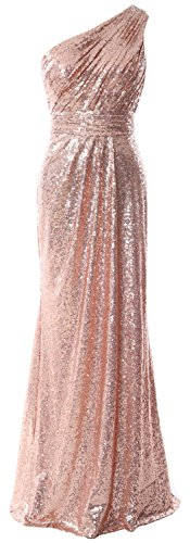 Long Prom Women Gold Gown Shoulder Sequin 2017 Rose Formal Evening Party One Dress MACloth ZnAU6gqU
