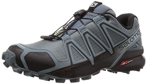 Salomon Men's Speedcross 4   Trail Running Shoe Black/Stormy Weather, 10.5 Standard US Width US (Best Ski Boots For Wide Feet 2019)