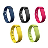 I-SMILE Silicone Deluxe Rainbow Pack Accessory Replacement Bands with Metal Clasps for Fitbit Flex / Wireless Activity Bracelet Sport Wristband(No tracker, Replacement Bands Only)