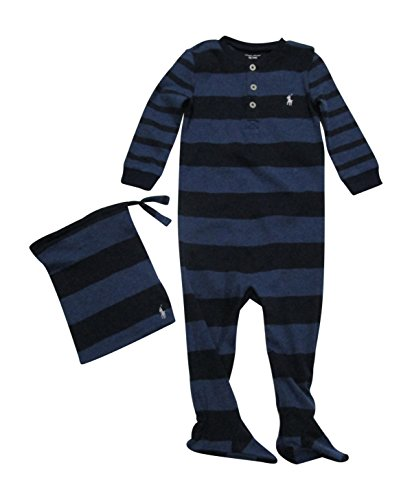 Ralph Lauren Baby Boys' Cotton Pajamas Coverall Bodysuit Long Sleeve (Winter Navy Heather Multi, 6 Months) (Ralph Lauren Baby Boy Bodysuit)