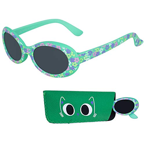 Baby Sunglasses, 100% UV Protection Infants & Toddlers Sunglasses, Smoked Lenses Reduces Glare for Ages 0-12 Month to 3 Years - Rubber Injected Frame with Matching Pouch (Green, ()