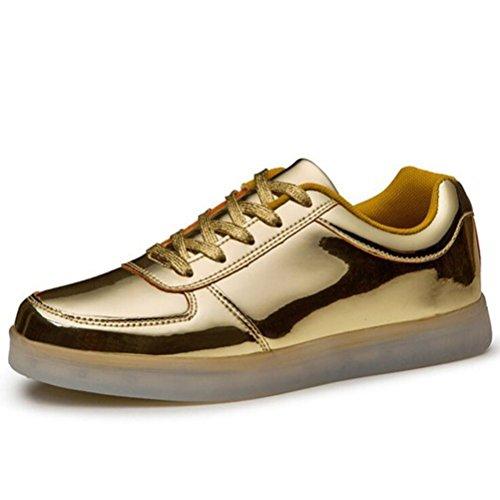 Erwach Farbe Sneaker pequeña 7 Presente LED Sportschuhe Gold JUNGLEST® Schuhe Sport Aufladen Top Turnschuhe Sportschuhe USB Leuchtend toalla Low für Unisex BxnqTIwnF