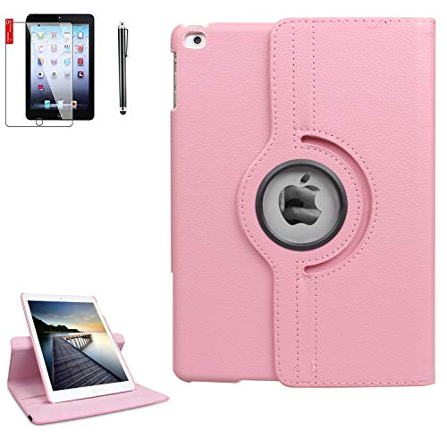 iPad 6th Generation Cases with Bonus Screen Protector and Stylus - iPad 9.7 inch Air1 2018 2017 Case Cover - 360 Degree Rotating Stand, Auto Sleep Wake - A1822 A1823 (Light Pink)