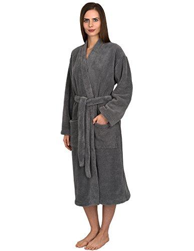 - TowelSelections Women's Plush Robe Soft Fleece Kimono Bathrobe Medium/Large Frost Gray