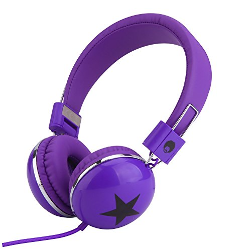 Rockpapa Star On Ear Headphones Foldable, Adjustable Headband for Kids Childrens Boys Girls Adults, iPhone iPod iPad Smartphones Tablets Computer DVD Purple