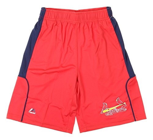 Majestic MLB St. Louis Cardinals Big Boys Youth Batters Choice Shorts, Navy (Large (14.