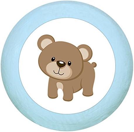 Manico in legno anatra azzurro tenero blu pastello pastello legno cameretta bambini bambini bambini 1 pezzo animali della fattoria sogno bambino
