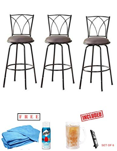 Generic- 3-Piece Benson Ajustable Height Sturdy Metal Frame Swivel Barstool, Sleek Black Finish