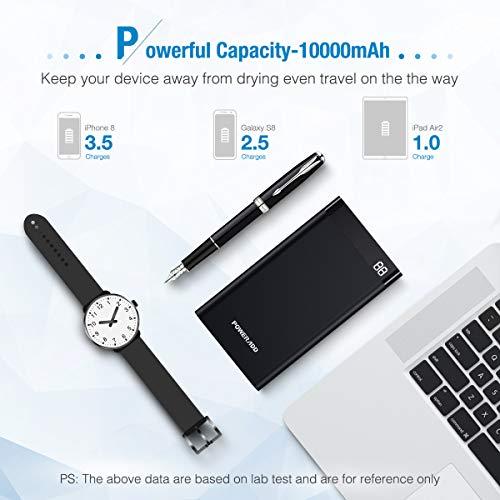 Poweradd Virgo II 10000mAh Portable Universal Power Bank, Ultra Compact External Battery with LED Display, Black
