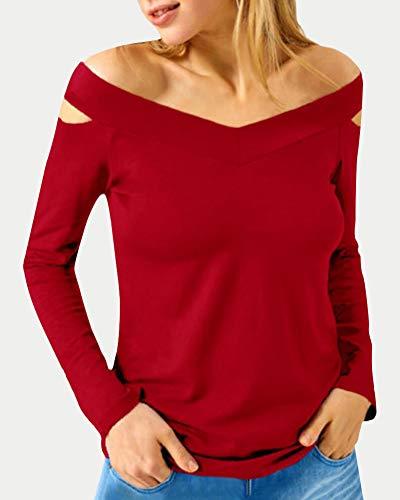 Bretelles Blouse Couleur Tops Minetom Col Rouge Sexy Chic Femme Manches Chemisiers Fit Automne Haut sans T Unie Shirt Slim Longue V xaOwFaY1q