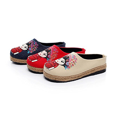 Pantoufles Mules Pékin Pantoufles DANDANJIE Lin Chaussures Plat Chaussures Tongs Toe Chaussures Vieux et Anti Patinage Beige Fermé Sunmmer décontractées Femmes Lin Wn4BtX4g