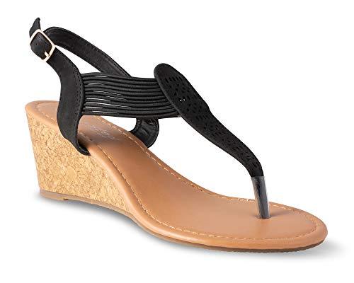 - Twisted Women's Riley Z2 Low Wedge Sandal - Black, Size 10