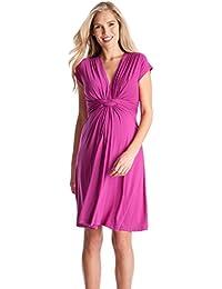 Pink Fuchsia Knot Front Maternity Dress