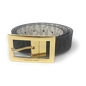 Michael Kors Women's Rectangle Buckle Reversible Brown To Vanilla Logo Belt