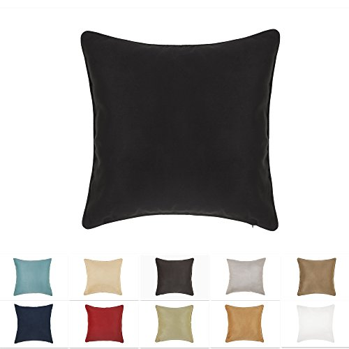 DreamHome 26 X 26 Inches Black Color Faux Suede Decorative Euro Pillow Cover, Throw Pillow Case with Hidden Zipper, Super Soft High Quality Faux Suede On Both Sides