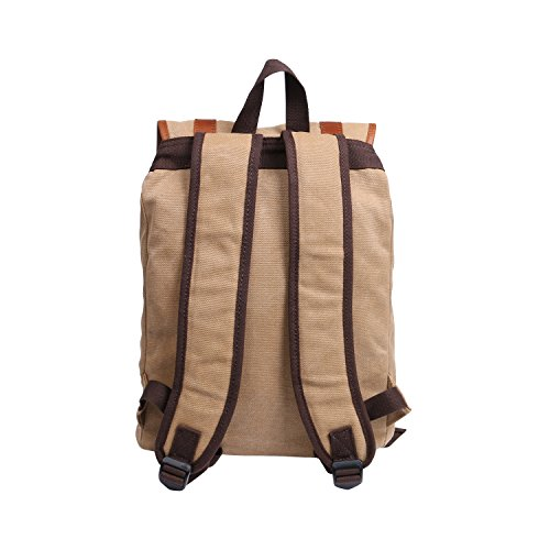 JINS&VICO Canvas Hiking Backpacks Rucksack Vintage Backpack Casual Double-shoulder Backpack for College School Travel Hiking (Khaki)