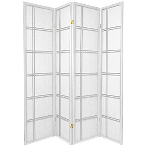 4 Panel Double Cross Room Divider - White