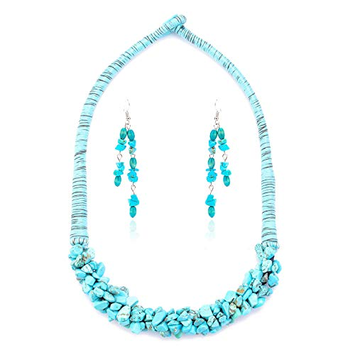 Shan Bo Bohemian Natural Stone Earrings Set Necklace Turquoise Clavicle Chain for Women Design Boho Style Ladies Fashion Wild Jewelry