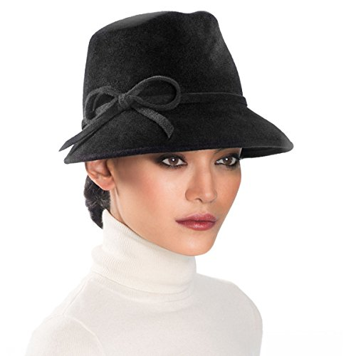 Eric Javits Luxury Fashion Designer Women's Headwear Hat - Bow Cap Fedora - Black by Eric Javits
