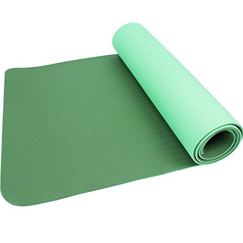 Ezyoutdoor 72x24 inch 6mm Green Double-side Yoga Mat Pilates Eva Foam Padding Manduka Yogitoes for Hot Yoga Gym Workout Exercise Picnic Hiking Camping (J Fit Yoga Mat Shoulder Tote)