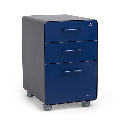 Poppin Charcoal + Navy Stow Rolling 3-Drawer File Cabinet
