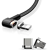 3 in 1 Magnetic Charging Universal 90° Right Angle Design For Gaming Cable 4FT/1.2M Lightning + Micro USB +Type-C Charger For iPhone iOS and Android by Mcdodo (Black)