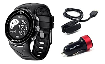 Callaway ALLSPORT Golf & Fitness GPS Watch Bundle with PlayBetter USB Car Charge Adapter | Multi-Sport Activity Tracker, Smart Notifications & 30,000+ Worldwide Courses
