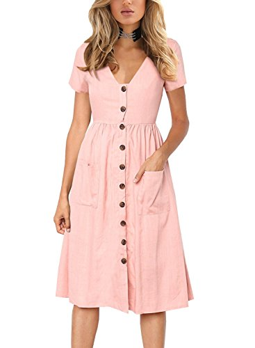 - Women's Midi Dresses with Pockets Casual Party Button V Neck Swing Dress Short Sleeve BK358 (M, Pink)