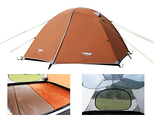 Luxe Tempo Lightweight 4 Person Tent for Backpacking Family Camping 7.7 lbs with Ridge Pole Gear Loft Rip-Stop Fabric Aluminum Poles (Coral - 4 Door Tempo