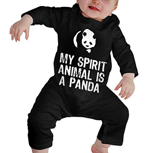 Long Sleeve Cotton Rompers for Unisex Baby, Fashion My Spirit Animal is A Panda Playsuit Black