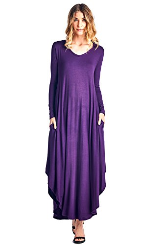 12 Ami Curved Hem V-Neck Long Sleeve Maxi Dress Dark Purple XL
