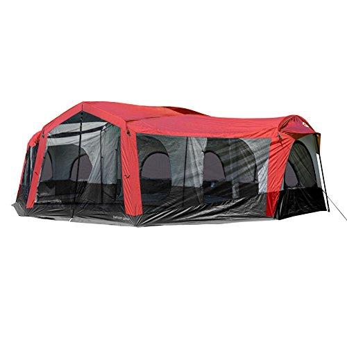 (Tahoe Gear Carson 3 Season 14 Person Large Solar Shield Family Cabin Tent, Red)