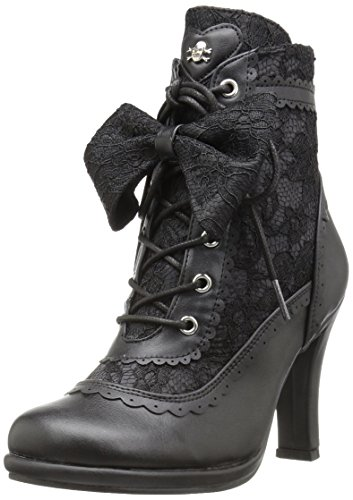 Vegan Lace (Demonia Women's Glam200/Bvl-Lc Boot, Black Vegan Leather-Lace, 11 M US)