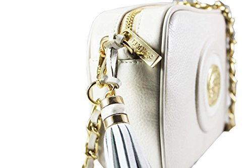 ... FERETI Borsa a tracolla piccola vera pelle beige e bianco catena d oro  con nappa ... af23d632784