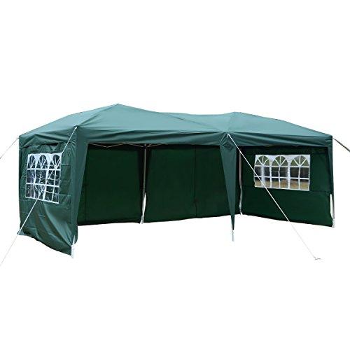 TANGKULA 10'X20' EZ POP UP Tent Gazebo Wedding Party Folding Canopy Carry Bag Cross-Bar (Green) For Sale