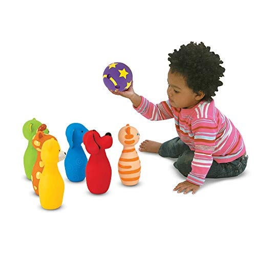 "41Qn2g4Gn8L - Melissa & Doug Bowling Friends Preschool Playset, Plush 6-Pin Bowling Game with Carrying Case, Weighted Bottoms, 7 Pieces, 9"" H x 8.5"" W x 7"" L"