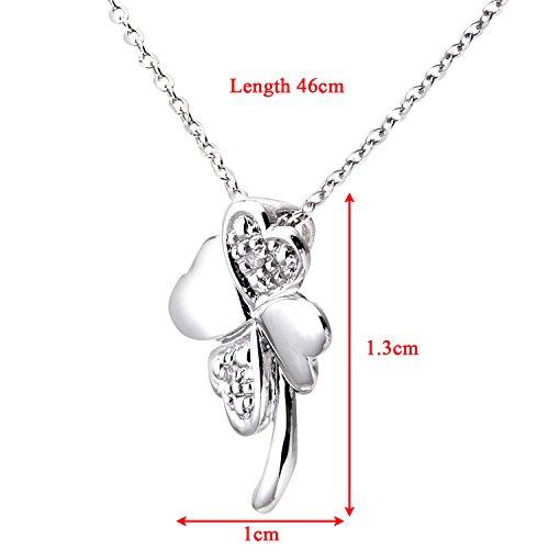 Revoni Bague en or blanc 9carats-serti de diamants pendentif fleur et chaîne 45,7cm