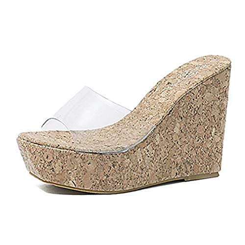 Women's Clear Strappy Wedges High Heels Platform Slides Sandals Open Toe Slip on Cork Roman Sandals Shoes Beige