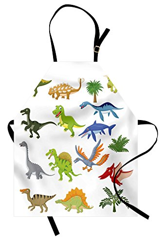 Kids Bib Aprons - Lunarable Boy's Room Apron, Cartoon Dinosaur Images with Other Elements from Jurassic Fauna Cute Creatures, Unisex Kitchen Bib Apron with Adjustable Neck for Cooking Baking Gardening, Multicolor