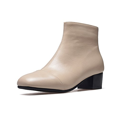 Square Beige Heels Toe Zip Urethane AdeeSu Square SXC02402 Boots Womens PqO6nPHwg