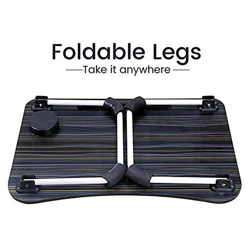 POKARI™ Multipurpose Foldable Laptop Table with Cup Holder, Study Table, Bed Table, Breakfast Table, Foldable and Portable/Ergonomic & Rounded Edges/Non-Slip Legs