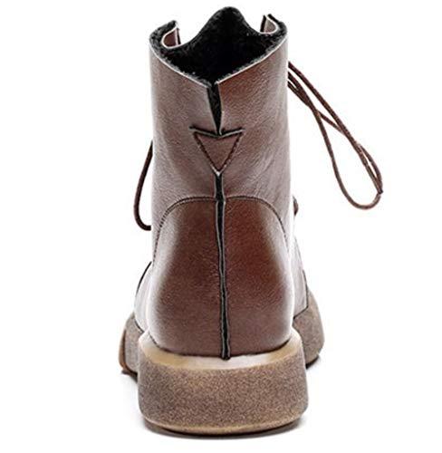 Female New Flat England Cotton Autumn Winter Women's Retro Shiney Martin Boots Velvet Brown Casual wnq0StwxBa