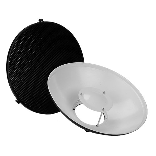 Fotodiox Pro Beauty Dish 16'' Kit with Honeycomb Grid and Speedring for Bowens Gemini Standard, R, RX Strobe and more by Fotodiox