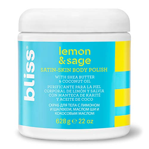 Bliss - Lemon & Sage Satin Skin Body Polish With Shea Butter & Coconut Oil | Smoothing & Balancing Skincare | All Skin Types | Cruelty Free | Paraben Free | 22 fl. oz.