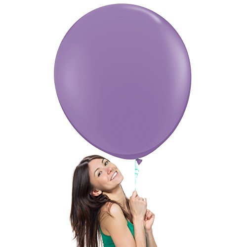 36 Inch (3 ft) Giant Jumbo Latex Balloons (Premium Helium Quality), Pack of 3, Regular Shape - Lavender, for Photo Shoot/Birthday/Wedding Party/Festival/Event/Carnival