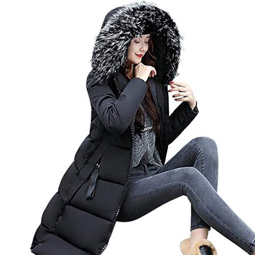 Ladies Jacket Down Parka Winter Fashion Cappotto Schwarz Hood Con Capispalla Grandi Faux Addensare Caldo Vestiti Dimensioni Manica Saoye Long Fur XZqtA