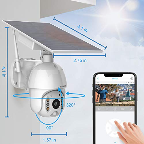 Home Security Camera Outdoor, Wireless Wi-Fi Pan Tilt 360° View Spotlight Rechargeable Solar Battery Powered System with…