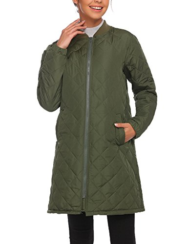 Asatr Women Warm Winter Parkas Long Coats Lightweight Quilted Lined Jacket Barn Jacket With Pocket (Womens Quilted Coat Diamond)